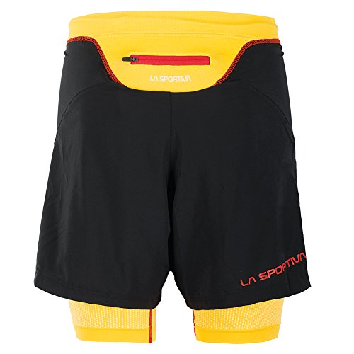 La Sportiva Men's Rapid Running Short - Running Shorts for Men with Liner, Black/Yellow, S