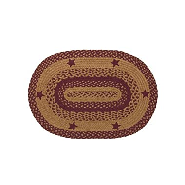 IHF Home Decor Star Wine Design Oval Floor Carpet Braided Rug 20  x 30  Jute Fiber