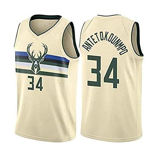SHUWNSJ Camisetas De Baloncesto,Milwaukee 34 Adetokunbo Swingman Bordado Malla Transpirable Camiseta De Aficionado Al Baloncesto (A,S)