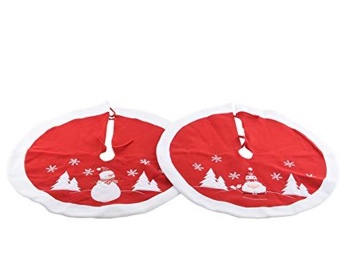 Christmas Xmas Tree Skirt Base Cover Santa Design OR Snowman Design - RED & WHITE