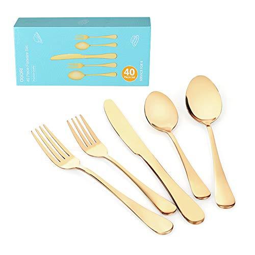 OGORI Besteck, Besteckset Golden für 8 Personen, 40 Stück Besteck Set, aus Edelstahl, nickelfrei, rostfrei, handpoliert, für Haus, Küche, Restaurant Tafelbesteck Set