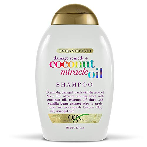 OGX Extra Strength Damage Remedy + Coconut Miracle Oil Shampoo for Dry, Frizzy or Coarse Hair, Hydrating & Flyaway Taming Shampoo, Paraben-Free, Sulfate-Free Surfactants, floz Vanilla 13 Fl Oz