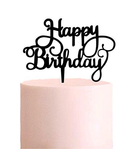Manschin Laserdesign Cake Topper, Happy Birthday, Tortenstecker Geburtstag, Tortefigur Acryl, Farbwahl - (Schwarz) - Art.Nr. 5040