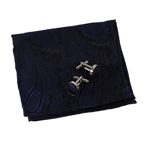 EEF1B03C Blue Absolutely Polyster Pocket Square Woven Silk Black Paisley Handkerchief Cufflinks Set for Best Man Gifts By Epoint