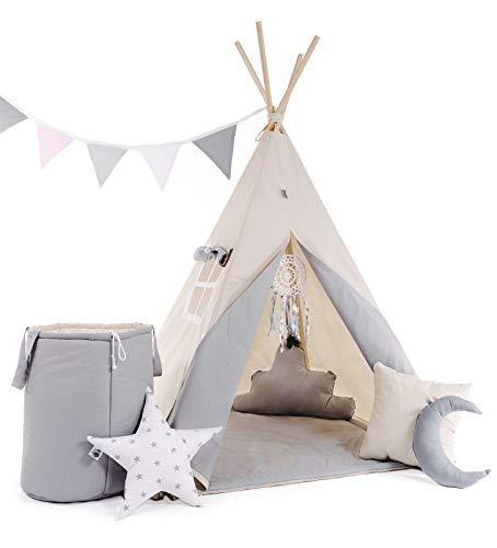 Golden Kids Kinder Teepee Tipi Set für Kinder Spielzeug drinnen draußen Spielzelt Zelt 8 Elemente dabei Tipi-Set Indianer Indianertipi mit Fenster usw. (mit Zubehör, Grauer Wolf)