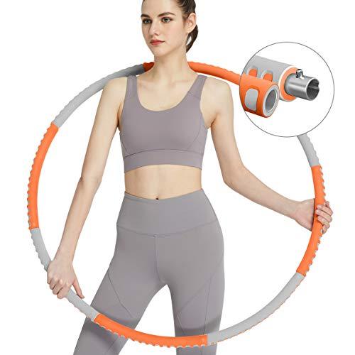 PIIKNUO Hula Hoop Reifen 1,2 kg für Erwachsene Fitness, 8 Abnehmbare Teile mit trendigem Design, Stabiler Edelstahlkern mit Komfortabler Premium Schaumstoff (Grau + Orange)