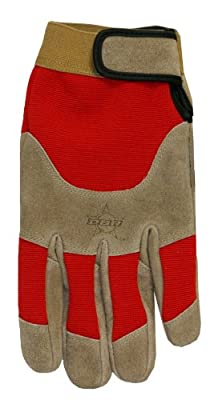 Midwest Gloves and Gear Professional Bull Riders Suede Cowhide Leather Work Glove,Brown/Red
