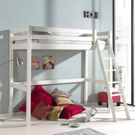 Alfred & Compagnie hoogslaper H190, 90 x 200 cm, gekantelde ladder, grenenhout, wit