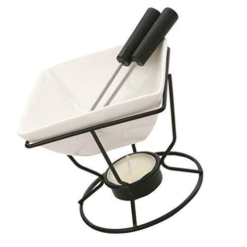 YARNOW Fondue Pot Set Schokoladenfondue Käse Schmelztiegel mit Gabel Teelichtkerze Keramiktterwärmer zum Schmelzen von Käse Karamell Schokolade Süßigkeiten