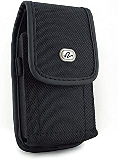 Black Rugged Canvas Side Case Cover Pouch Belt Holster Clip for Alcatel REVVL, Pop 3, OneTouch Flint Fierce XL, One Touch Fierce XL, Jitterbug Smart, Idol 4S, 4, A30 Plus