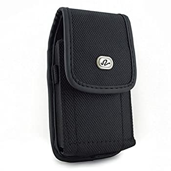 Black Vertical Rugged Canvas Case Cover Protective Pouch Belt Holster Clip for LG Tribute HD Dynasty 5 Treasure Q6 K7 Escape 3  K373  Aristo - Motorola Moto G4 Play E4 Droid Turbo