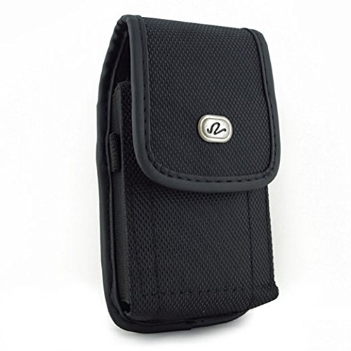 Black Rugged Canvas Side Case Cover Pouch Belt Holster Clip for ASUS Zenfone 3 Max - BlackBerry Priv - BLU Vivo 5R 5, R1 Plus, Life One X3 X2 - CAT S41 - Coolpad Canvas