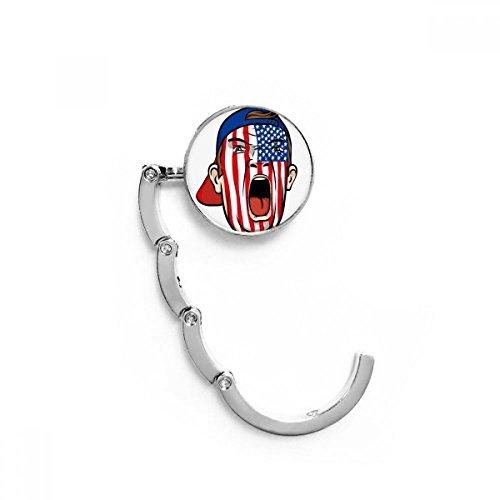 DIYthinker USA-Flaggegen-Gesichtsmalerei Makeup Cap Tabelle Haken Falttasche Schreibtisch Aufhänger Faltbare Halter 4,4 x 4,4 cm (Breite x Höhe) gefaltet Mehrfarbig