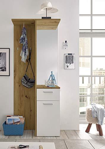 moebel-dich-auf.de Kompaktgarderobe Garderobe Flurgarderobe Malibu mit Spiegel in Artisan Eiche/weiß