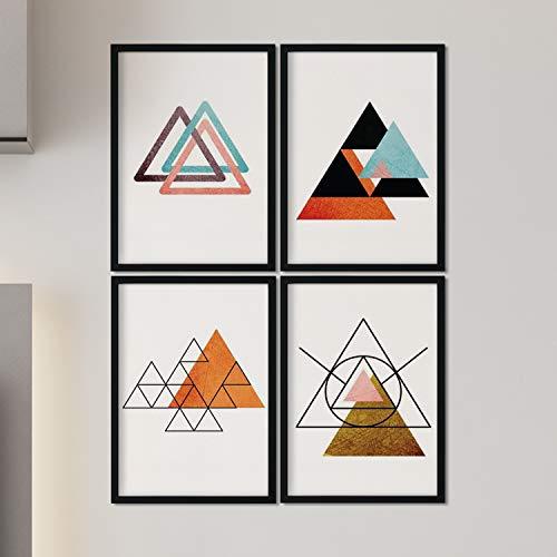 Nacnic Set de 4 láminas para enmarcar Sahara Y Egipto. Posters Estilo nórdico con triángulos para la decoración del hogar