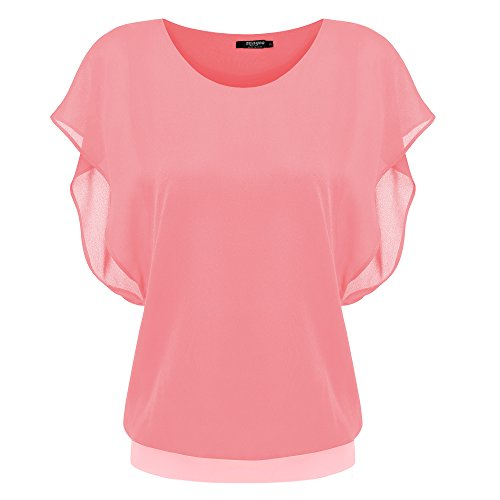 Zeagoo Damen-Bluse, Chiffon, lockere Spitze, Fledermausärmel, kurze Flatterärmel -  -  Groß