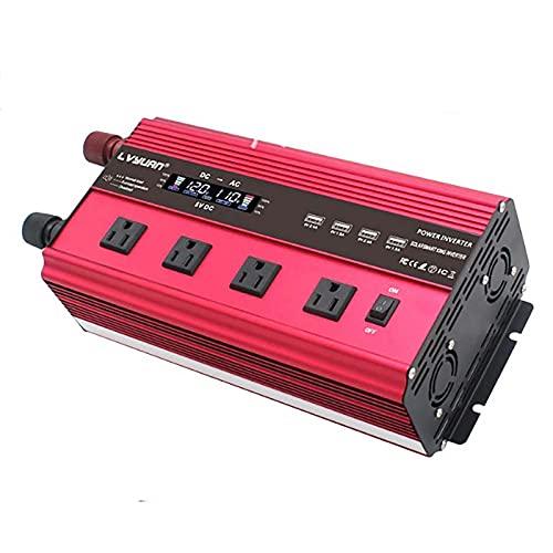 TERMALY Inversor de Corriente de 2000W DC 12V a AC 110V 220V Transformador Adaptador de Cargador de Automóvil con Enchufe de 3 Pines y 4 Puertos USB (Rojo),USSocket