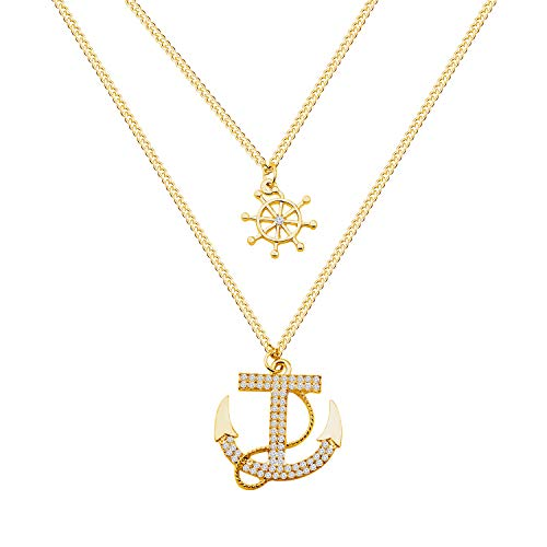 CHOORO Nautical Rope Pendant Ship Anchor Wheel Charm Necklace Fisher Sailor Seaman Gift for Sister BFF Lover Couple (ship wheel anchor necklace)