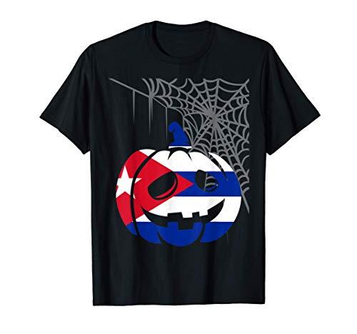 Disfraz Halloween Calabaza con Bandera de Cuba Camiseta