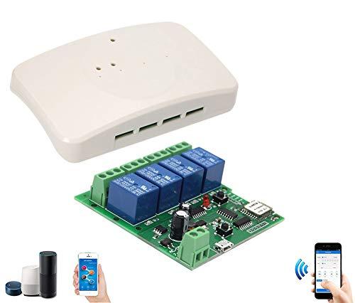 Modulo Relè WiFi Switch Interruttore 4 Canali Controllo Vocale Alexa Google eWeLink Momentary o Self-Locking per Garage Lampade USB 5V e DC 7V-32V
