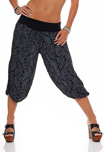 Malito Damen Capri Hose mit Orient Print | Haremshose zum Tanzen | Pumphose zum Chillen - Freizeithose 8581 (schwarz)