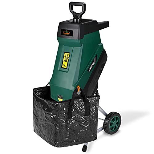 Gardebruk Trituradora de jardín 2400W con Bolsa de recolección 50L Cuchillas de Acero y Ruedas