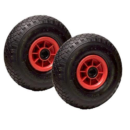 Lot de 2 roues gonflables 3.00-4 (2PR) pour diable, brouette et chariot 260 x 85 Alésage 25
