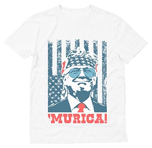 Donald Trump 2020 Shirt Murica 4th Of July Patriotic American Party USA T-Shirt Large White