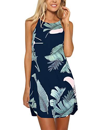YOINS Strandkleider Damen Sommer Casual Sommerkleid Damen Kurz Strand Schulterfrei Elegant Kleider Ärmellos Minikleider A-dunkelblau S