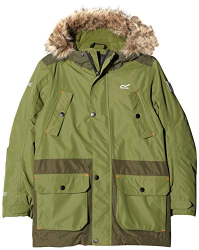 Regatta Kinder Payton Waterproof and Breathable Insulated Reflective Parka Jacke, Grün (Cypress Green), 9-10 Jahre (Herstellergröße:135-140 cm)
