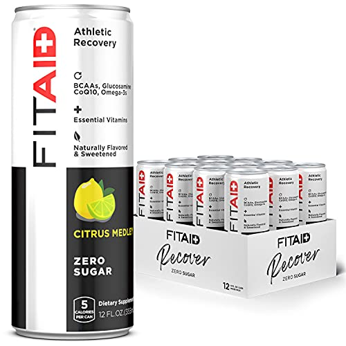 FITAID ZERO, No Artificial Flavors or Sweeteners, Keto-Friendly, Number 1 Post-Workout Recovery Drink, Contains Zero Sugar, BCAAs, Glucosamine, Omega-3s, Green Tea, 5 Calories, 12 Fl Oz (Pack of 12)