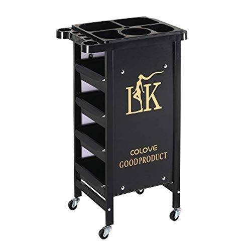 Salon Hairdressing Trolley Hairdresser Barber Beauty Storage Hair Spa Roller Cart Tray with 4 Drawers Hair Dryer Bracket