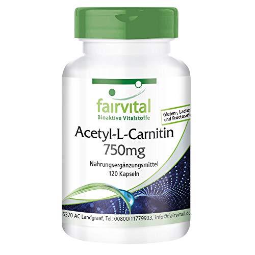 Acétyl-L-Carnitine 750mg - Fortement dosé - VEGAN - 120 gélules