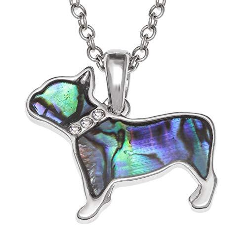 Kiara Jewellery Collar con colgante de bulldog francés con incrustaciones de...