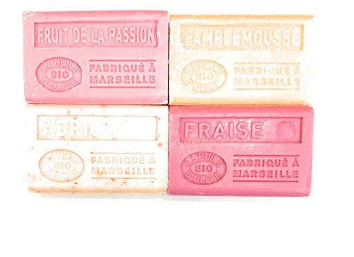 Label Provence - Lot de 4 savons de Marseille à l'huile d'olive BIO ; Fruit de la passion, Pamplemousse, Fraise et Abricot. 4x125g