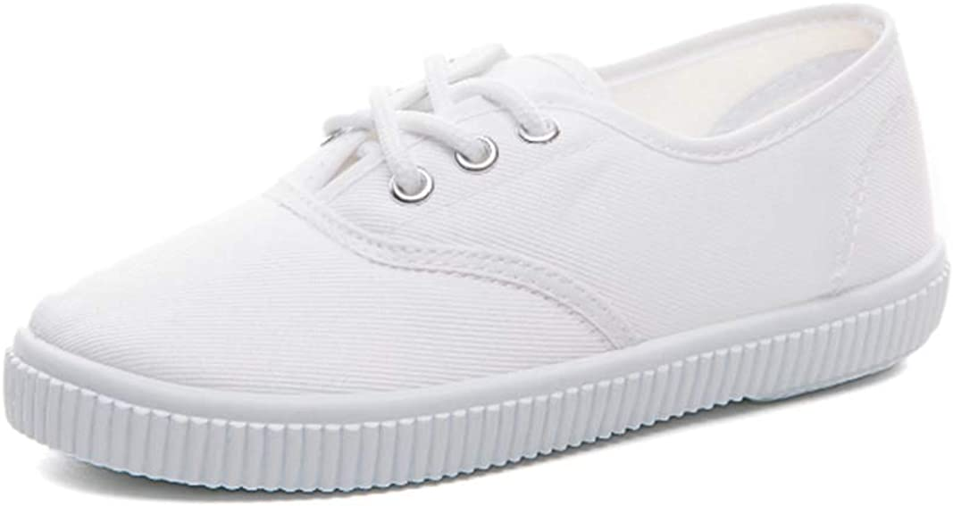 Je-Gou Boy's Girl's Lace up Sneakers Unisex White Canvas Shoes(Toddler/Little Kid)