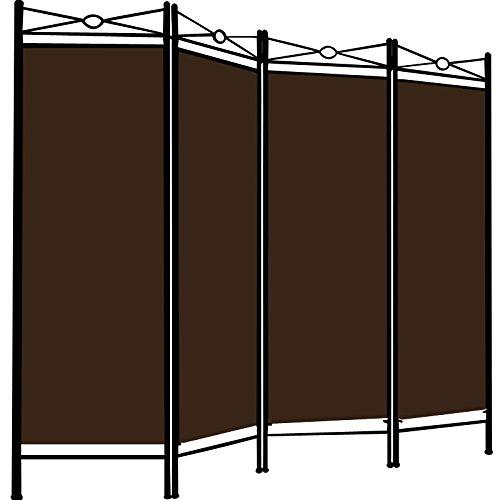 Deuba Paravent Lucca 180x163cm 4 Trennwände flexibel verstellbar Raumteiler Sichtschutz platzsparend & multifunktional braun