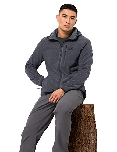 Jack Wolfskin Herren Skywind Hooded Fleecejacke, ebony, 3, 1707961