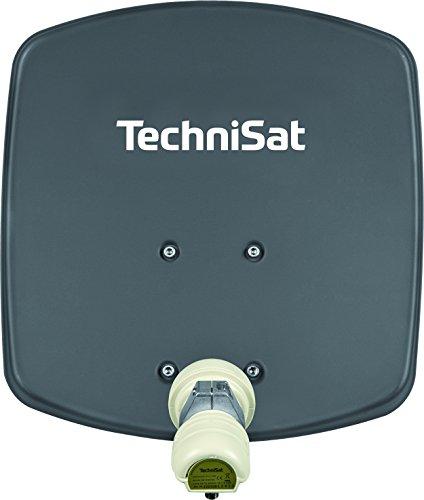 TechniSat DIGIDISH 33 - Satelliten-Schüssel für 1 Teilnehmer (33 cm kleine Sat Anlage - Komplettset mit Wandhalterung und Universal V/H Single-LNB) grau