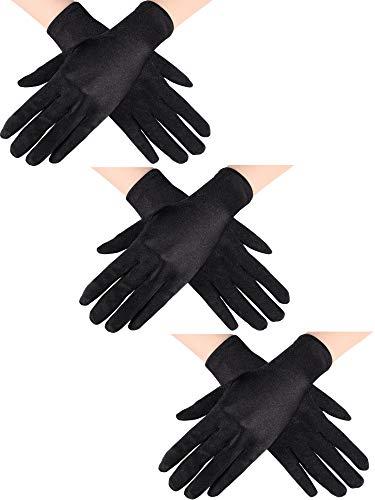 Sumind 3 Paar Handgelenk Länge Handschuhe Damen Kurze Satin Handschuhe Opera Kurze Handschuhen für die Hochzeitsgesellschaft der 1920er...