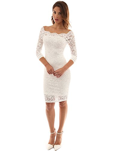 PattyBoutik Women Off Shoulder Floral Lace Twin Set Dress (Off-White Small)