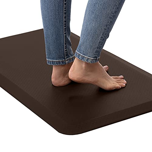 Kangaroo 3/4 Inch Thick Superior Cushion, Stain Resistant Kitchen Rug and Anti Fatigue Cushioned Foam Comfort Floor Padding, Office Stand Up Desk Mats, Washable Standing Decor Mat, 20x32, Brown