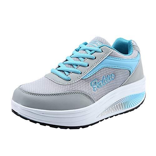 Zapatillas Deportivas de Mujer, Harpily Adelgazar Zapatos Sneakers para Caminar Zapatillas Aptitud Cuña Plataforma Zapatos Sneakers Respirable (Azul, Numeric_38)