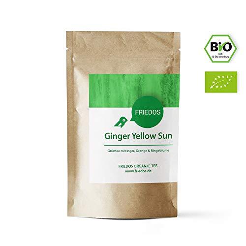 Friedos Tee organischer Grüner Tee Ginger Yellow Sun - mit Inger, Orange & Ringelblume - Bio Grüntee 100g