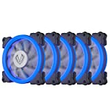 Vetroo 120mm 12cm Halo Ring LED PC CPU Computer Case Cooling Neon Quite Clear Fan Mod 4 Pin / 3 Pin for PC Case/CPU Cooler (5 Pack Blue)
