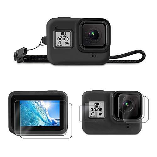 Linghuang Kit de Accessoires 1+6 pour GoPro Hero 8 Black Housse de Protection en Silicone + Dragonne + LCD Protection Écran pour Écran + Verre Trempé Film pour Lentille + HD Petite Protection d'écran