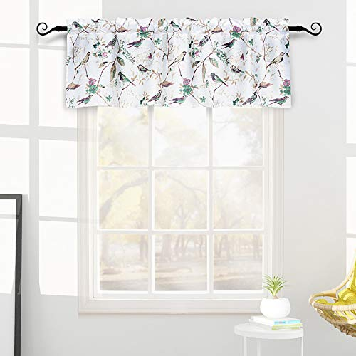 Melodieux Vintage Floral Birds Print Rod Pocket Sheer Valance for Living Room Cafe Kitchen, Plant Twig Leaves Curtain Valance, 52 by 18 Inch, Coral Pink (1 Panel)