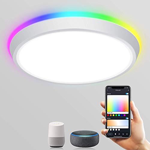 Plafoniera LED Soffitto, Lampadario LED WIFI Bluetooth + Controllo Vocale Alexa e Google Home , RGB + CW 2700-6500k Plafoniera LED, 16 Milioni Di Colori, Funzione Di Temporizzazione