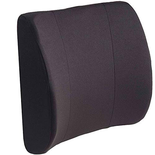 DMI Lumbar Support Pillow for Chair to Assist with Back Support with Removable Washable Cover and Firm Insert to Ease Lower Back Pain while Improving Posture, 14 x 13 x 5, Contoured Foam, Elite, Black