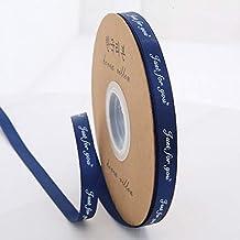 """DDDCM 10mm""""handgemaakte"""" gedrukt polyester lint met letter gedrukt lint for gift verpakking (Kleur : Just 10mm Dark blue, ..."""